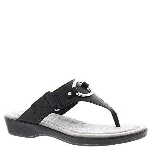 Ariat Women's Poolside Thong Sandal,Black Full Grain Leather,US 6 B