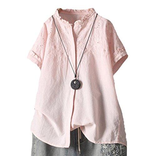[XINXIKEJI] レディースファッション 夏 ブラウス レディース おしゃれ シャツ レディース 半袖 白 上着 レディース 夏 リネンシャツ レディース 半袖 刺繍シャツ レディース アウター