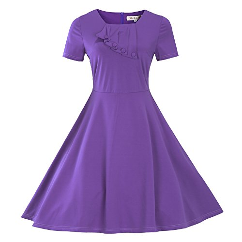 Dobeans-Womens-50s-Dresses-Short-Sleeves-Plus-Size-A-Line-Stretchy-Prom-Party-Gown