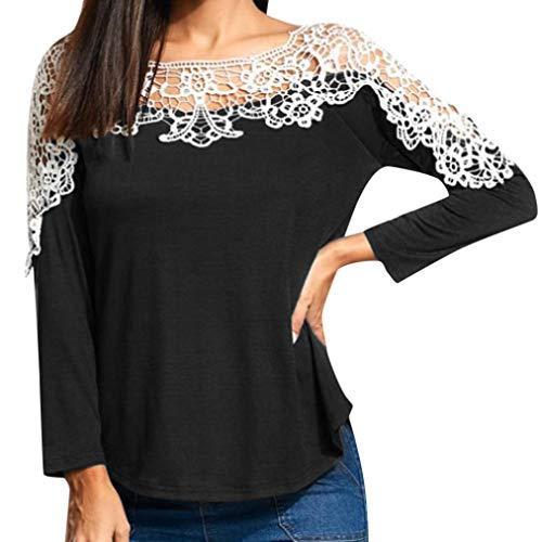 Realdo Womens Tops, Sexy Fashion Lace Off Shoulder Patchwork T-Shirt Long Sleeve Tunic Tops Blouse (Medium,Black) (Reds Cincinnati Striped Shirt)