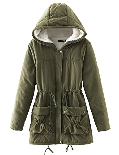 Chartou Women's Lovely Thicken Zip-Fly Hooded Lambswool Fleece Lined Long Jacket Coat Outwear (Small, Army Green)