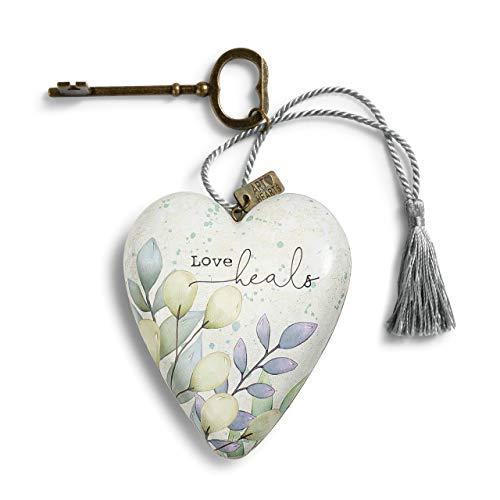 DEMDACO Love Heals Floral Purple 4 inch Resin Stone Collectible Art Heart Figurine