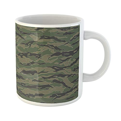Semtomn Funny Coffee Mug Green Camo Classic Tiger Stripe Camouflage Patterns Khaki Airforce 11 Oz Ceramic Coffee Mugs Tea Cup Best Gift Or Souvenir