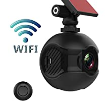 Edota Mini Car DVR Camera Full HD 1080P Wifi Connect Car Dash Cam 170°Angle View Mini Intelligent Dashboard Camera Recorder Car DVR for G-Sensor, Parking Mode, Loop recording,Remote control camera,HDR & Super Night Vision with 2.4G Wireless Remote Controller