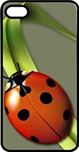Lady Bug Relaxing On A Blade Of Grass Black Rubber Case for Apple iPhone 4 or iPhone 4s