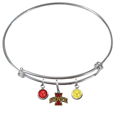 Iowa State Cyclones Expandable Wire Charm Bracelet Bangle w/ Team Color Crystals