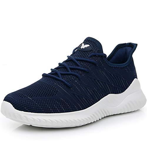 JARLIF Men's Memory Foam Slip On Walking Tennis Shoes Lightweight Gym Jogging Sports Athletic Running Sneakers Darkblue 10 D(M) US