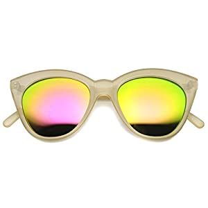 zeroUV - Women's Crystal Translucent Frame Flash Mirror Lens Round Cat Eye Sunglasses 52mm (Nude/Pink)