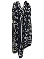 Big & Small angry tormented skull print punk goth pirate large fashion ladies soft scarf 170cmx100cm - posted from London by Fat-Catz-copy-catz (Black big & small skull)