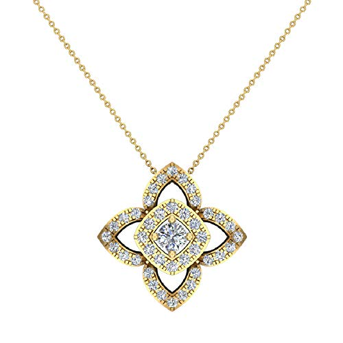 0.90 ct Floral motif Halo Diamond Necklace Pendant 14K Yellow Gold (P0206) ()