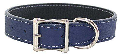 Luxury Italian Leather Tuscany Dog Collar - Navy Blue - 18