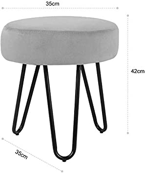Metal Legs Velvet Footstool Ottoman Simple Stylish Cute Round Stool Soft Fabric Velvet Pouffe Stools With Fashionable Metal Hairpin Legs For Footrest In Bedroom Livingroom Offices Hallway Fitting Room Furniture Bedroom Furniture