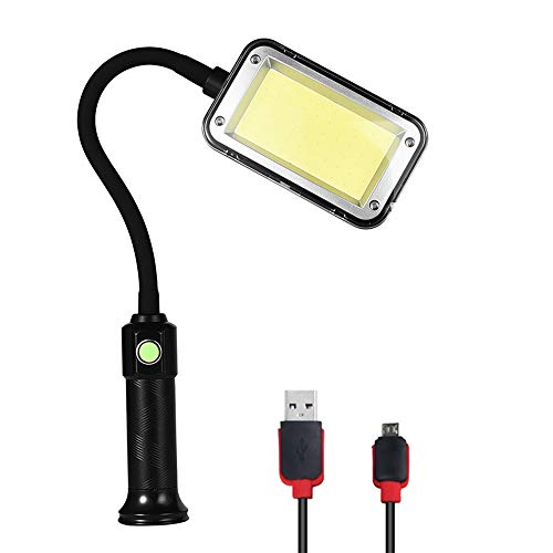 FISHNU 1000 Lumens Magnetic Led Work Lights,USB Rechargeable Barbecue Lights,Flexible 17.7inches Rubber-Coated Arm,60 Led Cob Machined Tool Lamps(60 Square Cob) (Work Lights Duty Heavy)