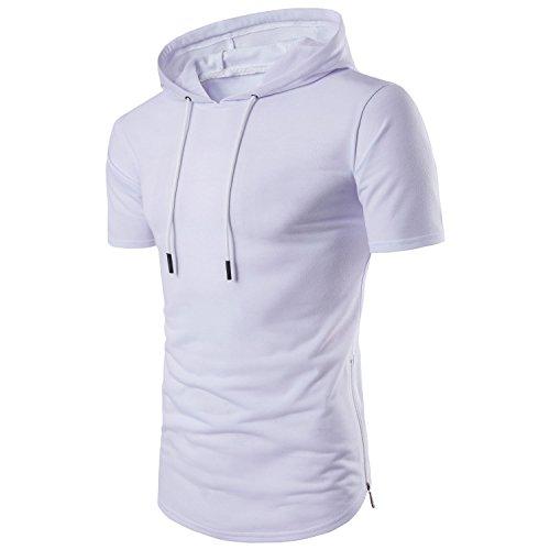 - Manwan walk Men's Hipster Hip Hop Longline Side Zipper Hooded T-Shirt T74 (XX-Large, White)
