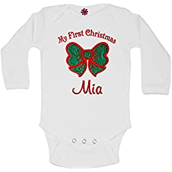 4291ce241 Baby Girl My First CHRISTMAS Personalized Embroidered Sparkling GLITTER BOW  Onesie Bodysuit (0-3