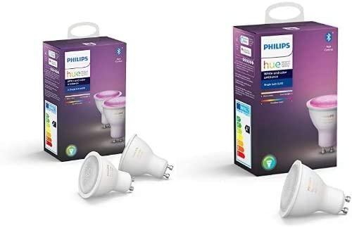 Philips Hue 3 Ampoules LED Connectées White & Color GU10 Compatible Bluetooth,...
