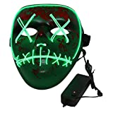 Cici Store Scard Mask Halloween With EL Wire LED Lighting,Light Mask For Cosplay Festival Costume Tools Masquerade Cosplay Props