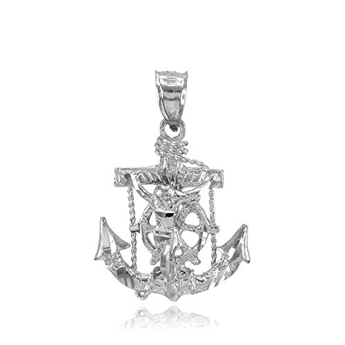 Men's Fine Jewelry 925 Sterling Silver Mariner's Cross with Crucifix Pendant ()