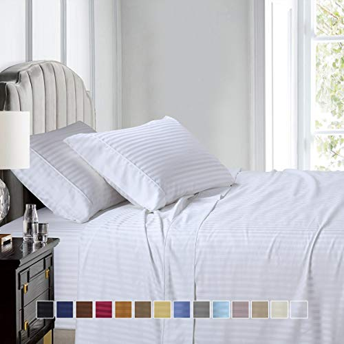 Split-King: Adjustable King Bed Sheets 5PC Stripe White 100% Cotton 600-Thread-Count, Deep Pocket ()
