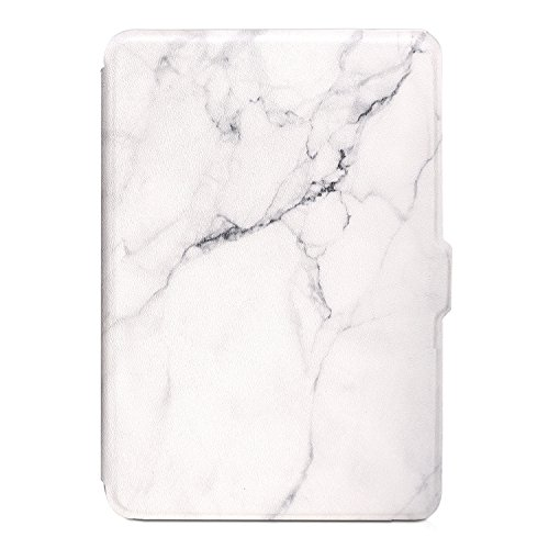 Leminimo Slim Fit Smart Classic Marble Case for Kindle Paperwhite with Auto Sleep/Wake for All-New Amazon Kindle Paperwhite (Fits 2012, 2013, 2015, 2016 Versions with Built-in Light) (White Marble)