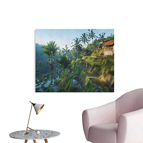 (Anzhutwelve Balinese Wallpaper Terrace Rice Fields Palm Trees Traditional Farmhouse Morning Sunrise Bali Indonesia Space Poster Green W32 xL24)