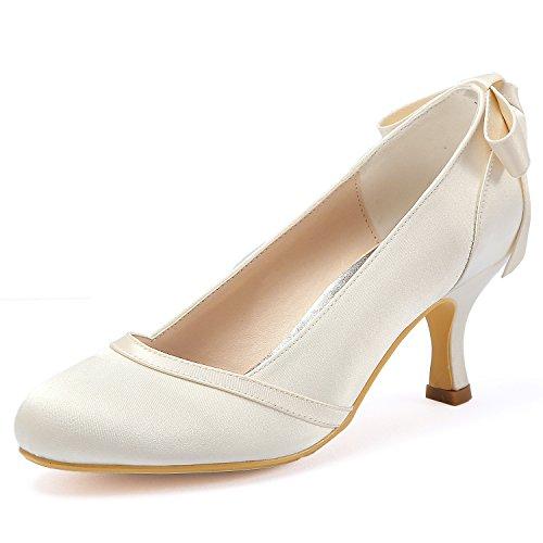 ElegantPark HC1804 Women Pumps Mid Heel Closed Toe Bows Satin Wedding Bridal Shoes Ivory US ()