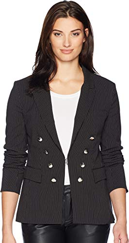 (CATHERINE CATHERINE MALANDRINO Women's Long Sleeve Blazer Black/White Pinstripe Large)