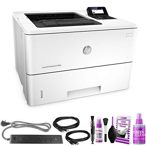 HP Laserjet Enterprise M506dn Monochrome Laser Printer - with Extra Extension Cables - Surge Protector - Productivity Bundle