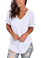 SAMPEEL Women's V Neck T Shirt High Low Side Split Tunic Tops