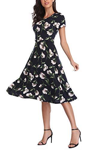 - Urban CoCo Women's Floral Print Short Sleeve Flared Midi Dress (L, 8)