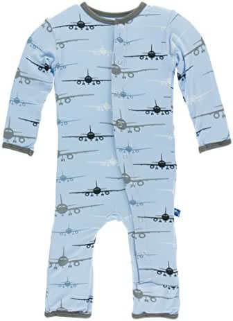 KicKee Pants Print Coverall with Snaps in Pond Airplanes, 0-3M