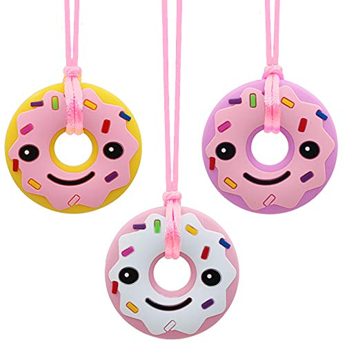 Chew Necklace for Infants Toddler, Silicone Donut Chewy Necklace for Kids Baby Chewing Biting Teething, 3 Pack Chewable Pendant Toy for Boys Girls with Autism ADHD SPD Anxiety or Special Needs