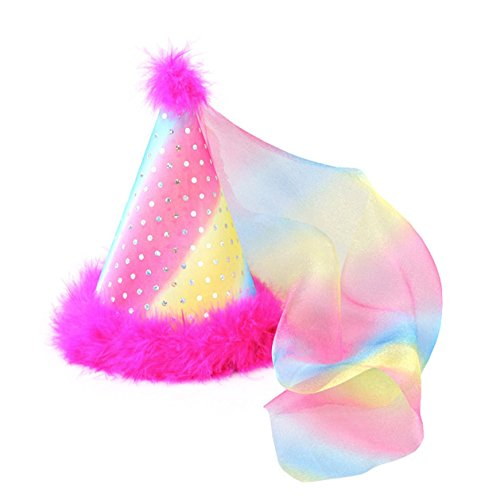 Birthday Party Hat Rainbow Sparkle Kids Party Hat Feathers