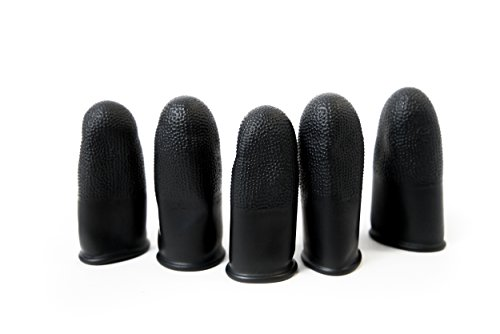 Black Static Dissipative Finger Cots, 14 Mil Thick, Medium, (Pack of 100)