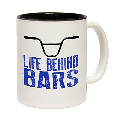 Quote Mugs Gift Life Behind Bars Bmx Ceramic Slogan Cup With Black Interior Birthday Funny Gift For Him For ()
