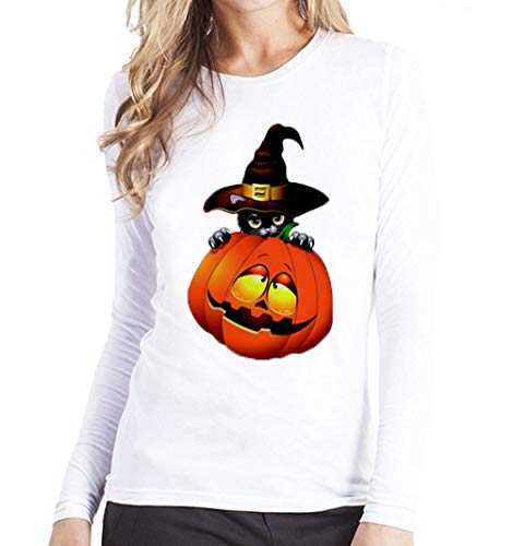 Halloween Women Tops,KIKOY Plus Size Pumpkin Cat Printing Long Sleeve T Shirt Blouse -