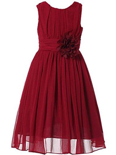 Bow Dream Little Girls Elegant Ruffle Chiffon Summer Flowers Girls Dresses Junior Bridesmaids Wine 7 ()
