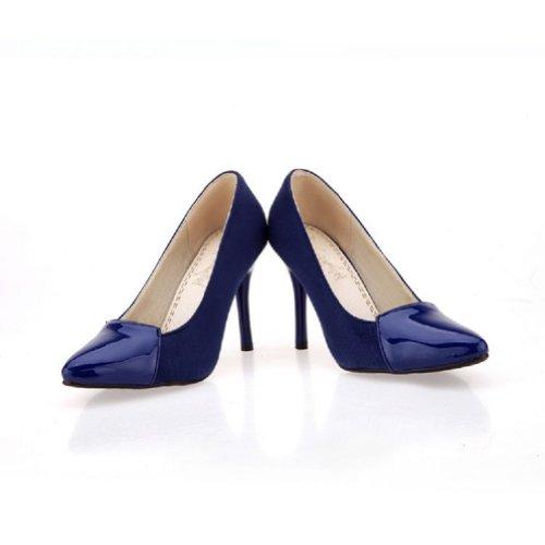 Ciondolo Moda Donna Scarpe Tacco Alto Stiletto Mary Jane Scarpe Blu