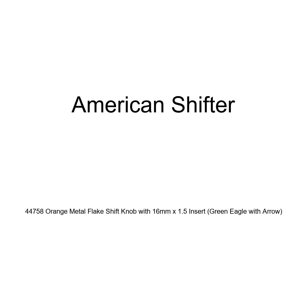 American Shifter 44758 Orange Metal Flake Shift Knob with 16mm x 1.5 Insert Green Eagle with Arrow