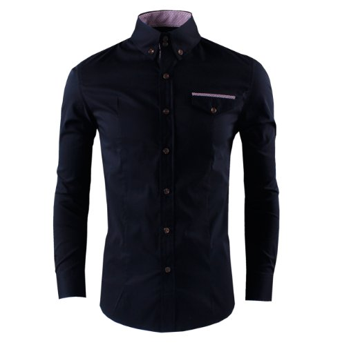 Tom's Ware Mens Trendy Slim Fit Contrasted Long Sleeve Shirt TWNMS312S-BLACK-L (US M)