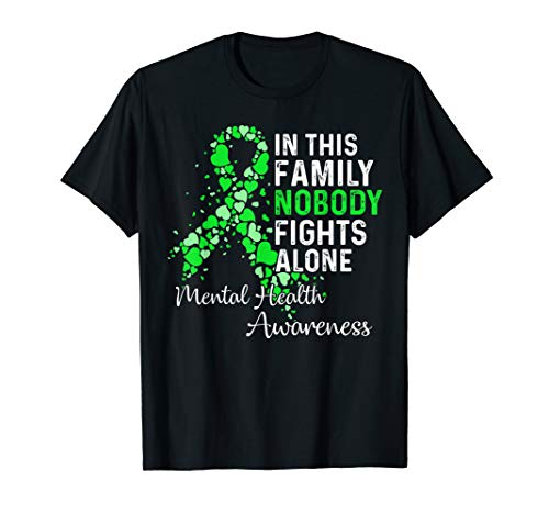 In This Family Nobody Fights Alone Mental Health Awareness T-Shirt