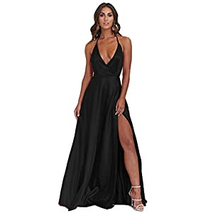 1539019b64e9a Sexy Halter Plus Size Evening Dresses for Women Empire Waist Prom Dress  2018 Cocktail Dress with High Slit Full Length Long Formal Gown MZ10 Black  Size 20W