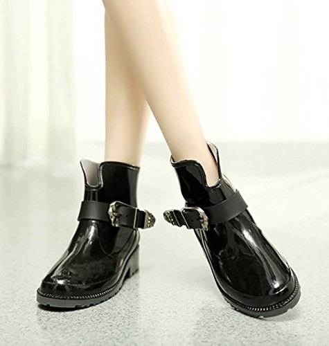 LvRao Wellies Tobillo Mitad Alto Talón de las Mujeres | Boots Impermeables Botines del Jardín de Lluvia Zapatos de Agua Negro