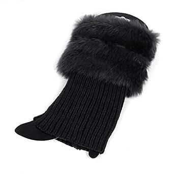 Slaxry Women Winter Leg Warmers Crochet Knit Fur Trim Leg