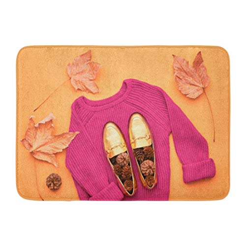 Aabagael Bath Mat Autumn Arrives Fall Woman Design Trendy Pink Knit Jumper Stylish Glamour Shoes Yellow Leaves Retro Bathroom Decor Rug 16