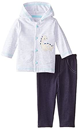Rene Rofe Baby Baby-Boys 2 Piece Hooded Dinosaur Cardigan and Knit Denim Pant, Multi, 0-3 Months