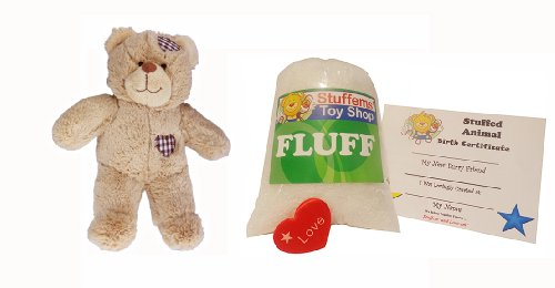 Make Your Own Stuffed Animal Mini 8 Inch Brown Patch Heart Bear Kit - No Sewing (Brown Bear Kit)
