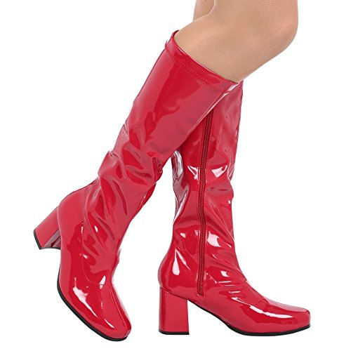 Knee Block Krista Boots Heel Patent Red ByPublicDemand Womens Mid High tXqT1T