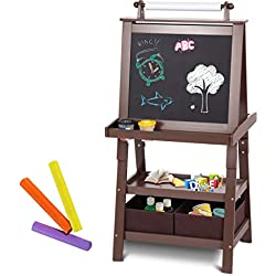Costzon Kids Art Easel, Double Sided Art Easel with Chalk Board & Paper Roll, A-Frame Easel with Two Storage Bins, Large Capacity Tool Tray, Espresso