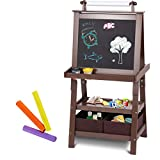 Costzon Kid Art Easel, A-Frame Art Easel with Chalk Board &Paper Roll, Double Sided Easel with Two Storage Bins, Espresso